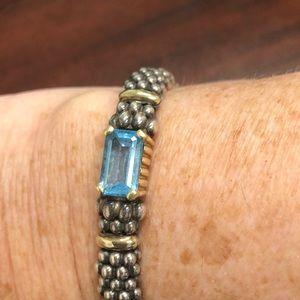 Lagos Caviar blue topaz large bracelet.